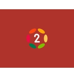Color number 2 logo icon design Hub frame vector image