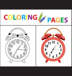 coloring book page red alarm clock sketch vector image