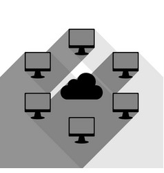 computers nerk sign black icon with two vector image