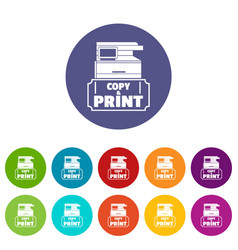 Copy and print icons set color vector