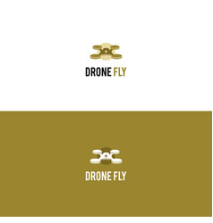 creative multirotor helicopter logo with coins vector image