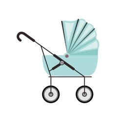 Cute baby carriage with blue soft top vector
