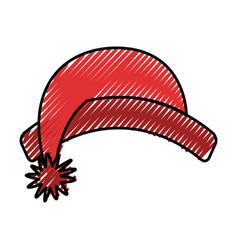 Cute scribble christmas hat vector