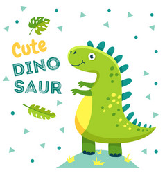 Dinosaur poster cute baby dino funny monsters vector