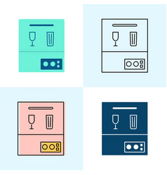dishwasher icon set in flat and line styles vector image