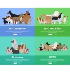 Dog Walking Training Grooming Banners vector