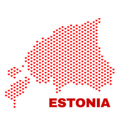 estonia map - mosaic of love hearts vector image
