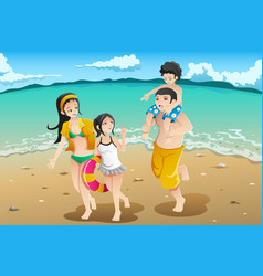 Family Going To The Beach Vector