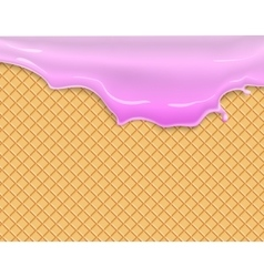 Flowing pink glaze on wafer texture vector image