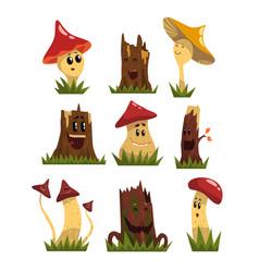 Funny mushrooms characters set cute humanized vector