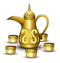 Gold teapot cartoon with some cup vector