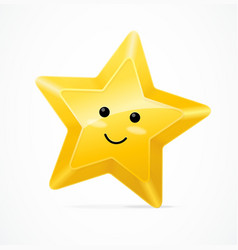 golden star cute character vector image
