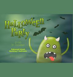 halloween flyer - cartoon 3d realistic monster vector image