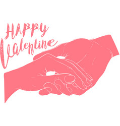 Hand holding hand together on valentine day vector