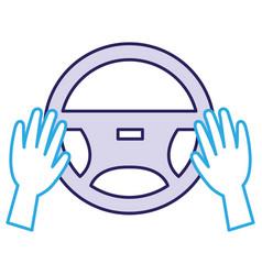 Hands driver with steering wheel vector