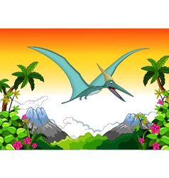 Happy pterodactyl cartoon flying vector image
