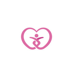 Heart love care body silhouette people logo vector