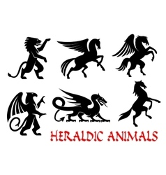 Heraldic animals emblems silhouette elements vector image