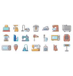home appliances icon set cartoon style vector image