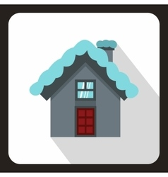House with snow on roof icon flat style vector image