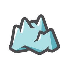 iceberg mountain ice icon cartoon vector image