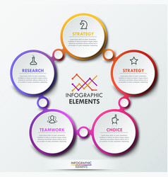infographic design template with 5 connected vector image