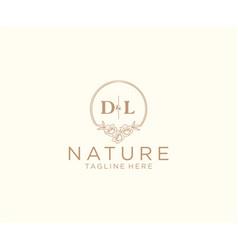 Initial dl letters floral frames botanical vector