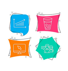 internet ice tea and chart icons people talking vector image