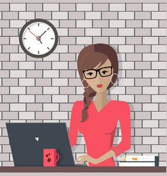Manager working with computer in office vector
