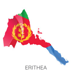 map eritrea with an official flag on white vector image