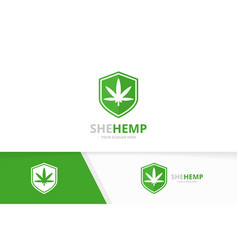 marijuana leaf and shield logo combination vector image