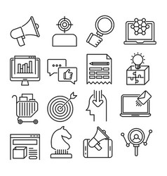 Marketing outline icons vector