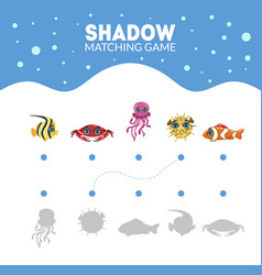 matching game with cute sea creatures find the vector image