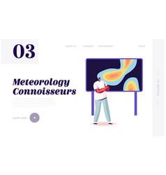 Meteorological report landing page template tv vector