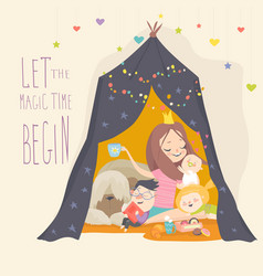 Mum and her kids playing in a tepee tent vector