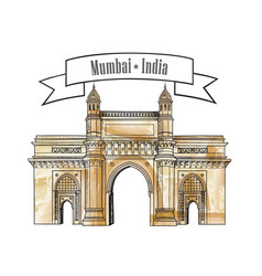 mumbai city gate way icon india famous indian vector image