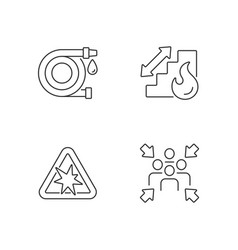 Office fire safety instructions linear icons set vector