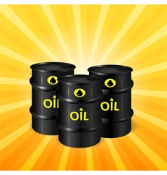 Oil barrels on sunray background vector