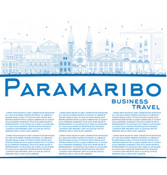 outline paramaribo skyline with blue buildings vector image