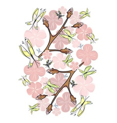 Pink blossom and butterflies vector image