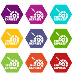 Print express icons set 9 vector