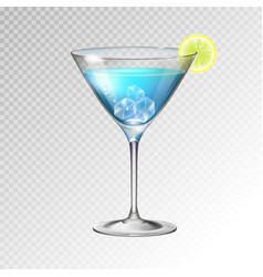 realistic cocktail blue lagoon glass vector image