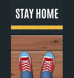 Red sneakers standing on a wooden porch vector
