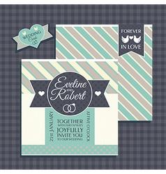 Retro wedding card vector