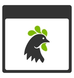 Rooster Head Calendar Page Flat Icon vector image