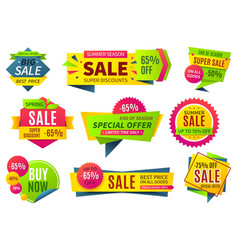 Sale banners price stickers collection ribbons vector