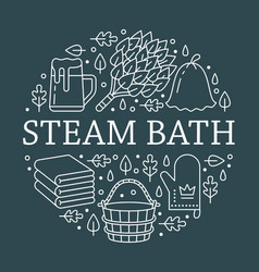 sauna steam bath room banner with vector image