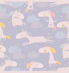 seamless pattern with cute unicorns clouds vector image