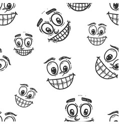 Seamless picture set faces with a smile sketch vector