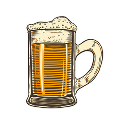 set hand drawn beer mug on white background vector image